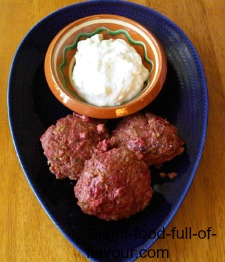 Lamb And Beetroot Burgers With A Feta Cheese And Garlic Sauce