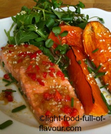 Asian-Style Trout With Oven-Roasted Butternut Squash And Sweet Potato