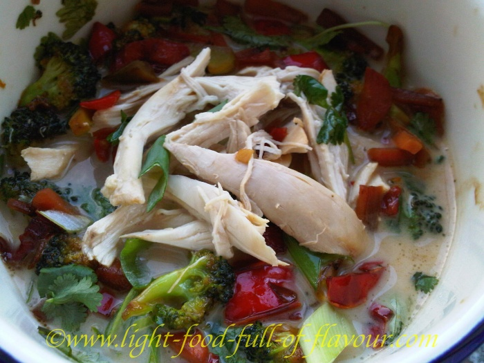 Poached Chicken In An Asian-Style Broth With Stir-Fried Vegetables