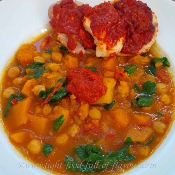 Chicken With Harissa, Sweet Potato And Butternut squash Tagine