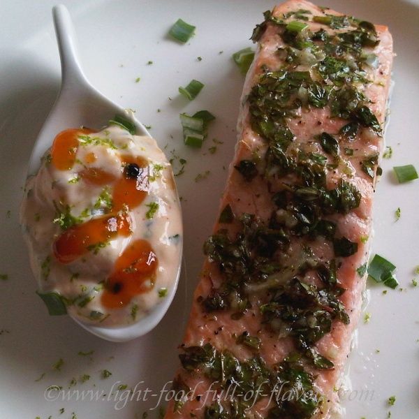 Lime-Marinated Salmon With A Mango Chutney Sauce