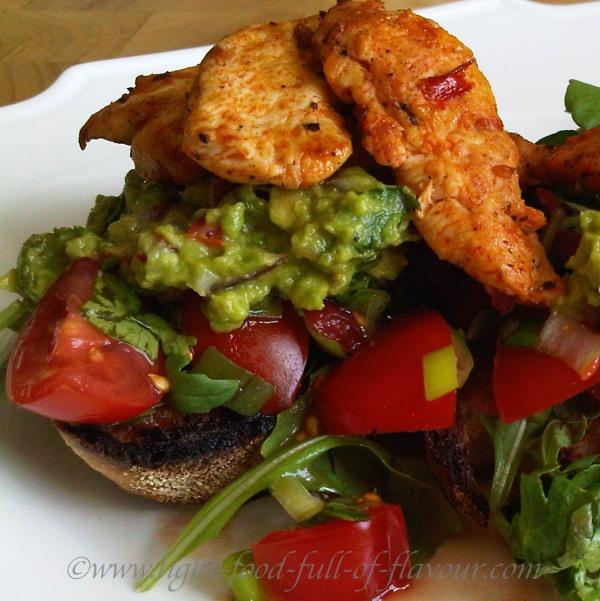 Mexican Chicken And Guacamole With Tomato Salsa On Sourdough Bread