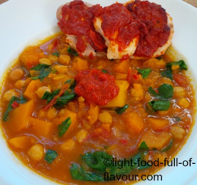 Chicken With Harissa, Sweet Potato And Butternut squash Tagine