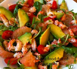 Prawn And Grapefruit Salad With Avocado And Pea Shoots