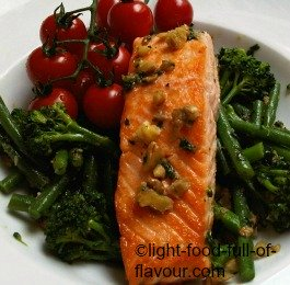 Pan-Fried Salmon With Vegetables In An Anchovy And Walnut Vinaigrette