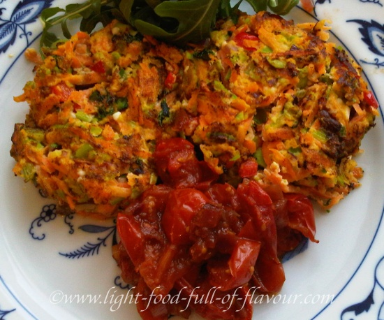 Carrot And Soybean Fritters With Feta Cheese