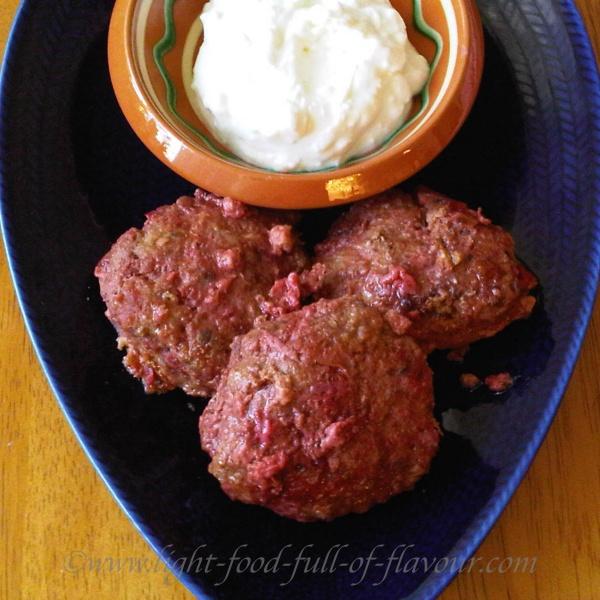Lamb And Beetroot Burgers With A Feta Cheese And Garlic Sauce