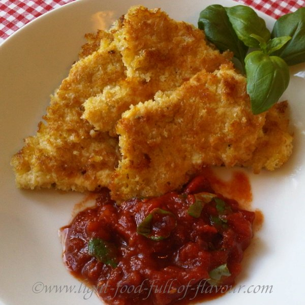 Parmesan Breaded Chicken With A Tomato And Basil Sauce