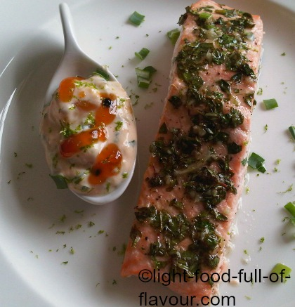 Lime-Marinated Salmon With A Mango Chutney Sauce