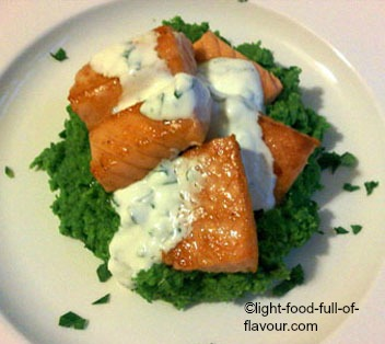Lightly Smoked Salmon With Mushy Peas